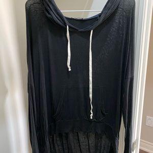 brandy melville black thin longsleeve hoodie